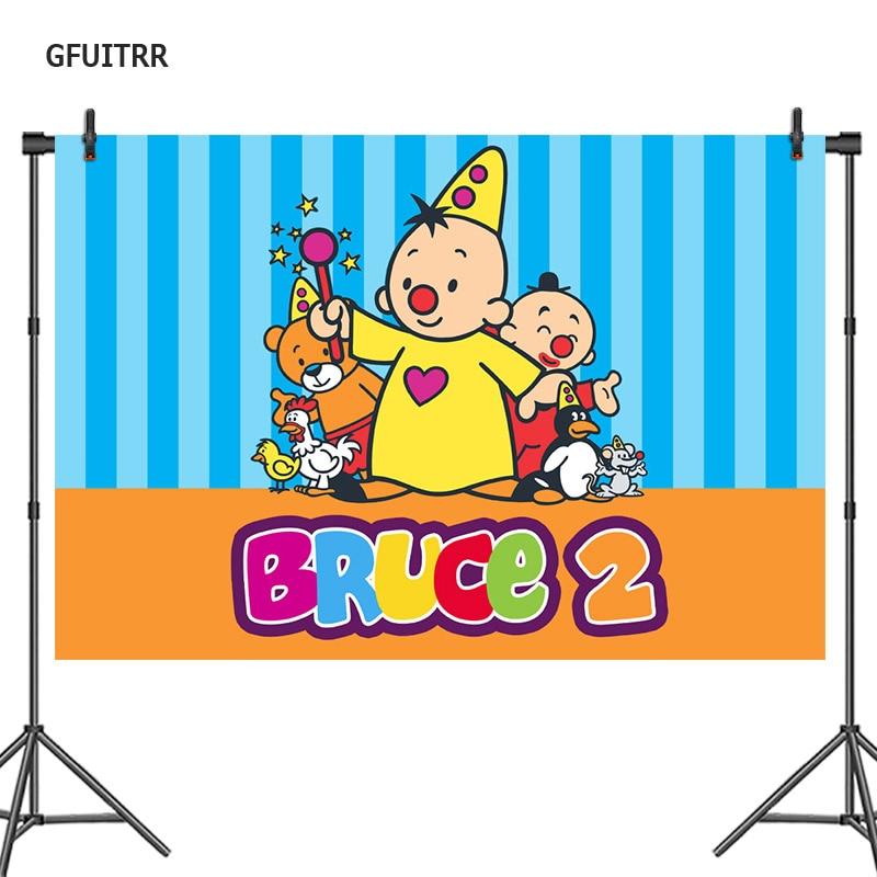 GFUITRR Bumba фотография Фон дети 1-й День рождения ребенок душ мультфильм фото фон синие полосы винил фото стенд реквизит