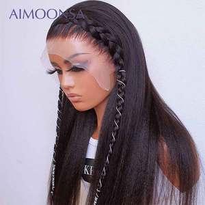 Прямые Парики Yaki 13*4, передние парики на сетке, парики из человеческих волос, предварительно выщипанные Детские парики из волос для черных же...