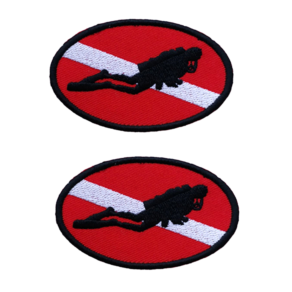 2x Ellipse Scuba Diving Dive Flag Patch Embroidered Iron On Emblem Souvenir