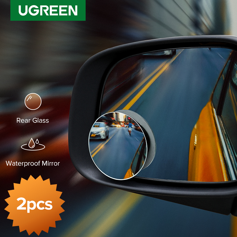 Ugreen Car Mirror 360°HD Blind Sport Mirrior Wide Angle Round Convex Rearview Mirror Vehicle Parking Rimless Rear View Mirror