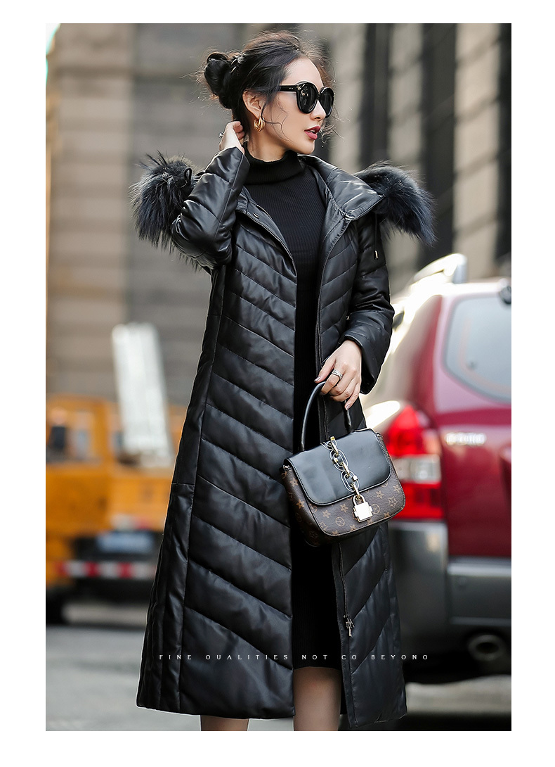 Leather Real 2020 Jacket Winter Coat Women Real Raccoon Fur Collar Down Jacket Women Long Genuine Sheepskin Coat MY4728