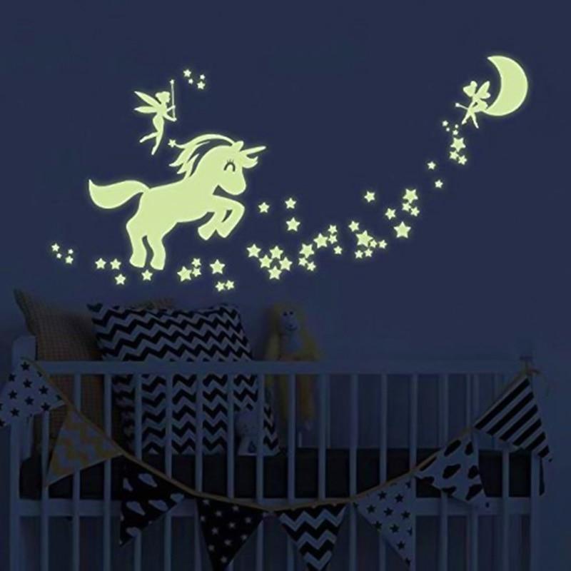 Unicorn Wall Decals Glow In The Dark Unicorn Stars Fairytale Fairy Wall Stickers For DIY Kids Girls Bedroom Home Nursery Room