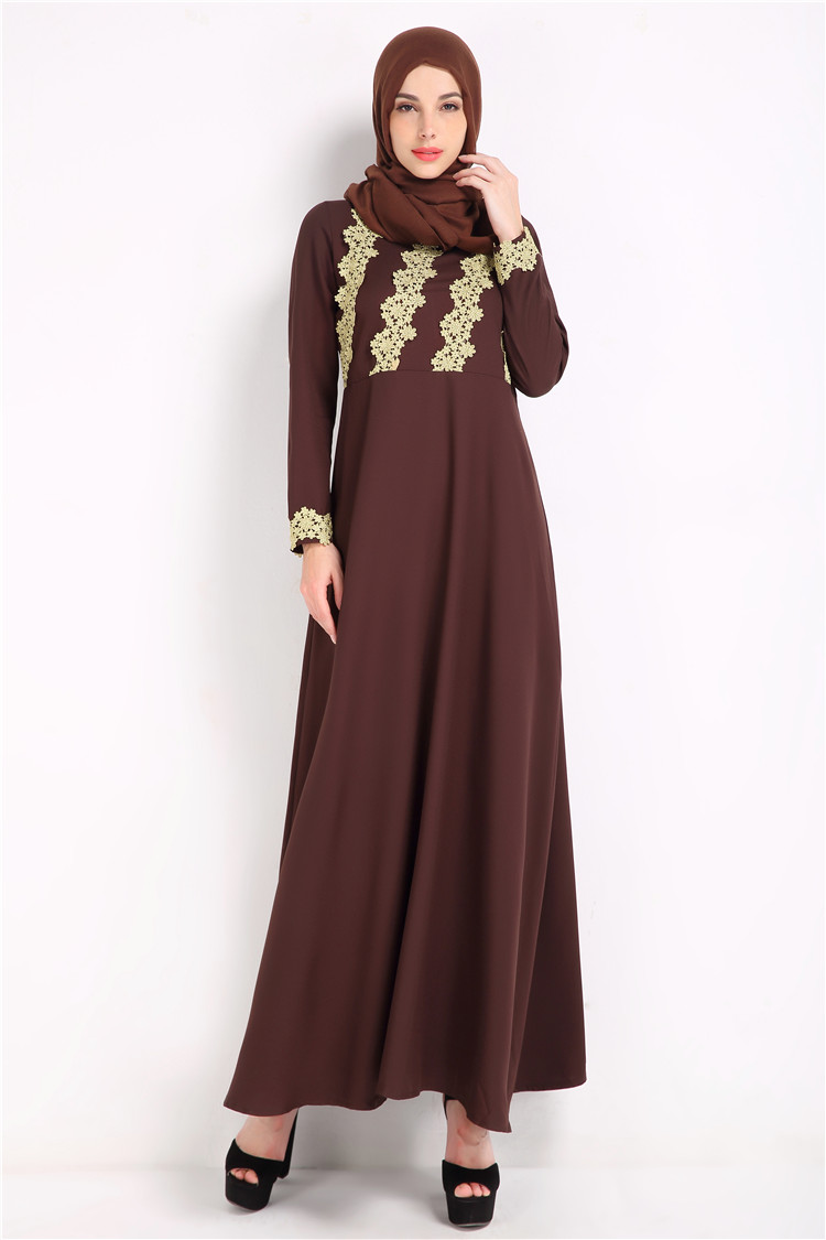 Arab Classy  Kebaya Women Muslim Embroidery Top Splicing Large Swing Skirt Dresses Evening Long Dress Caftan 1910