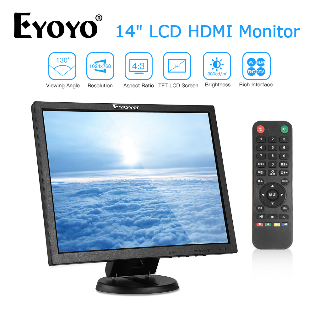 EYOYO EM14A 14 Inch 4:3 TFT BNC HDMI PC Monitor 1024x768 LCD Screen VGA AV Computer TV Display For CCTV Security Camera 12V