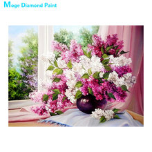 flower vase Moge Diamond Painting Full Round purple lavender New DIY Toy sticking drill cross embroidery 5D home decorative