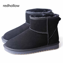 Winter Man Shoes Slip On Ankle Boots Warm Plush Snow Genuine Leather Men's Classic Solid Plus Size 37-47