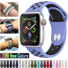 Soft Silicone Replacement Sport Band For Apple Watch 38mm 40mm Series 1 2 3 4 5 42mm 44mm Wrist Bracelet Strap For iWatch Sports цена