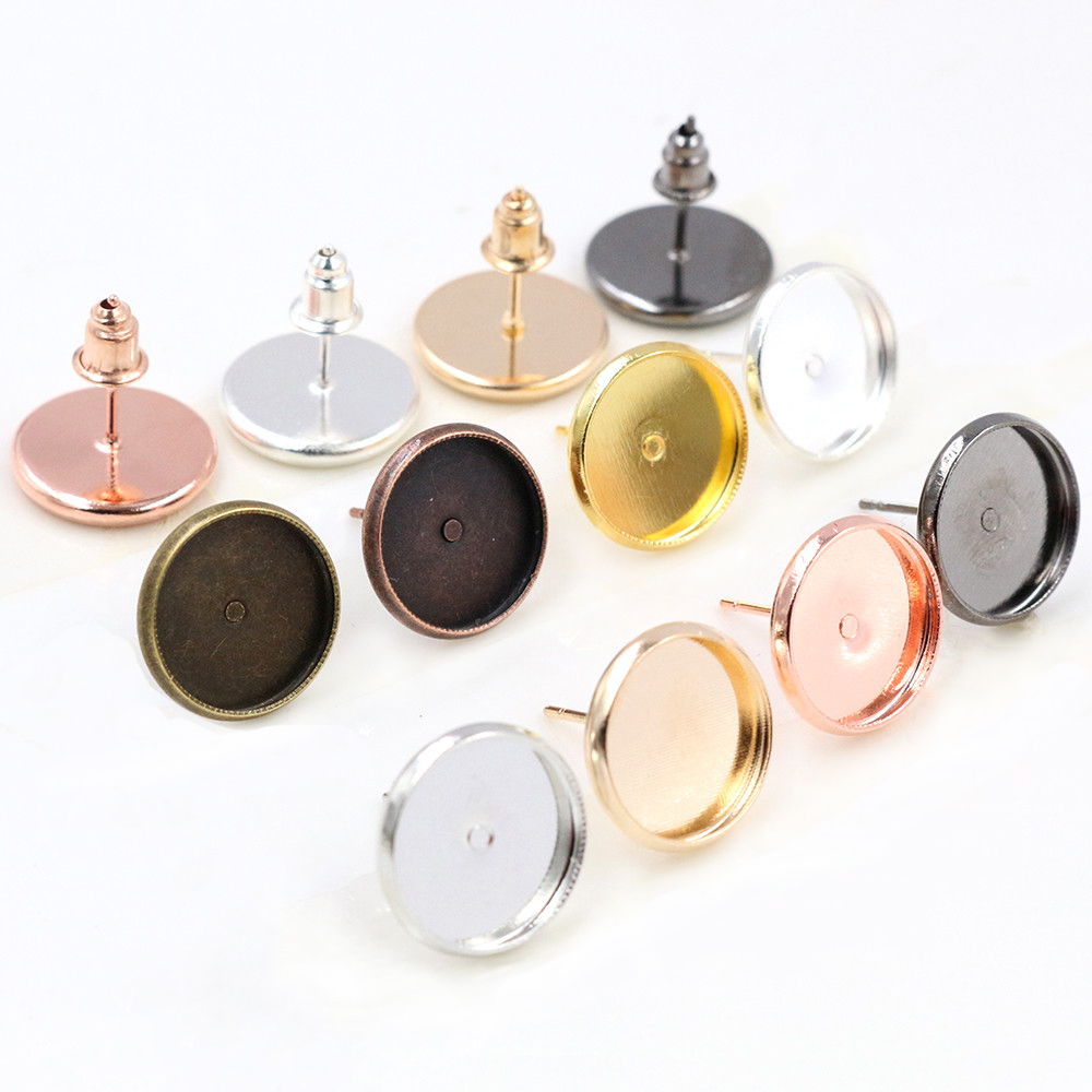 12mm 50pcs/Lot Fashion 7 Colors Plated Brass Copper Material Earring Studs(with Ear Plug) Earrings Base,Fit 12mm Glass Cabochons