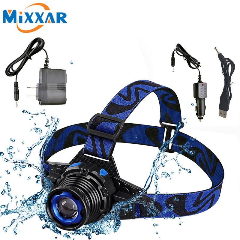ZK20 Dropshipping Q5 LED Headlamp Built-in Lithium Battery Rechargeable Headlight Waterproof Head Lamps 3 Modes Zoomable Torch