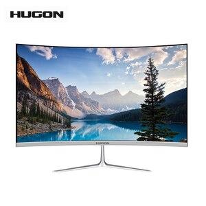 HUGON 24 Inch TFT/LCD 1920×1080p Curved Screen Monitor PC 75Hz HD Gaming Display VGA/HDMI Interface