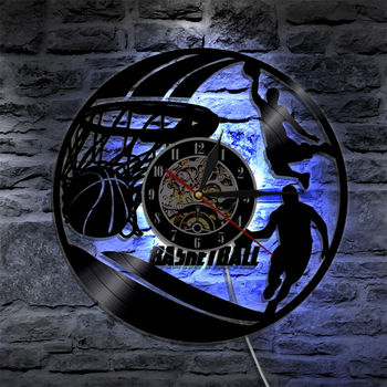 Vinyl Wall Clock Basketball Decorative Boys Room LED Lighting Clocks Mute 3D Decorative Classic CD Record Wall Watch Home Decor