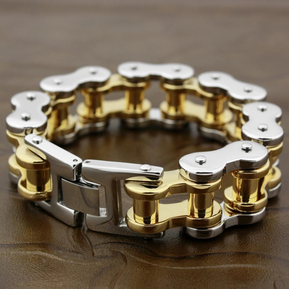 Acier inoxydable chaîne de moto hommes Biker Punk 2 ton Bracelet 5S005 longueur 9.2 pouce convient à la taille du poignet 7.2