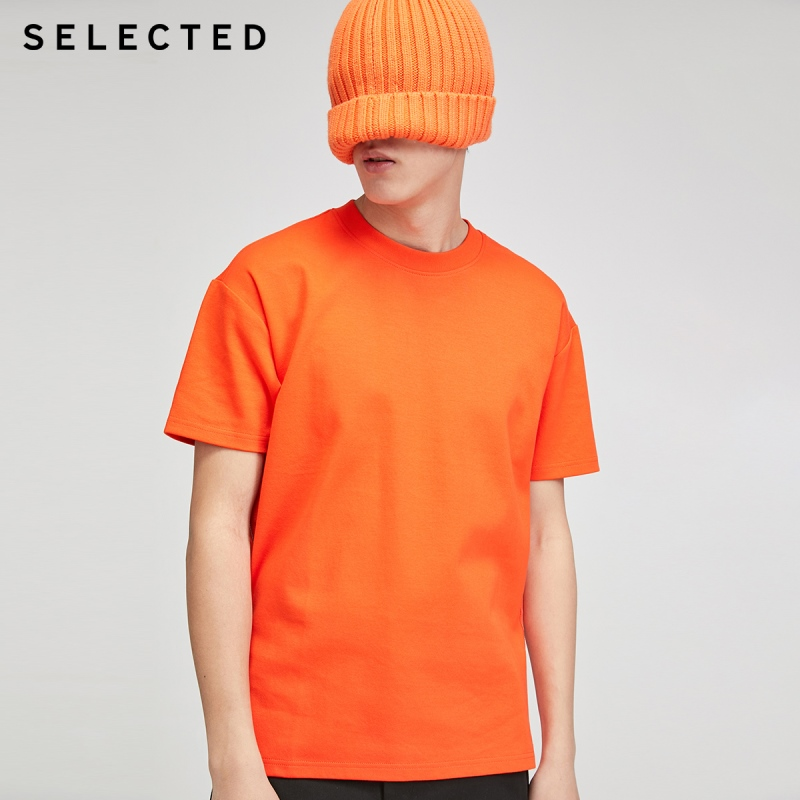 SELECTED 100% Cotton Pure Fluorescent Color Short-sleeved T-shirt S|420201508