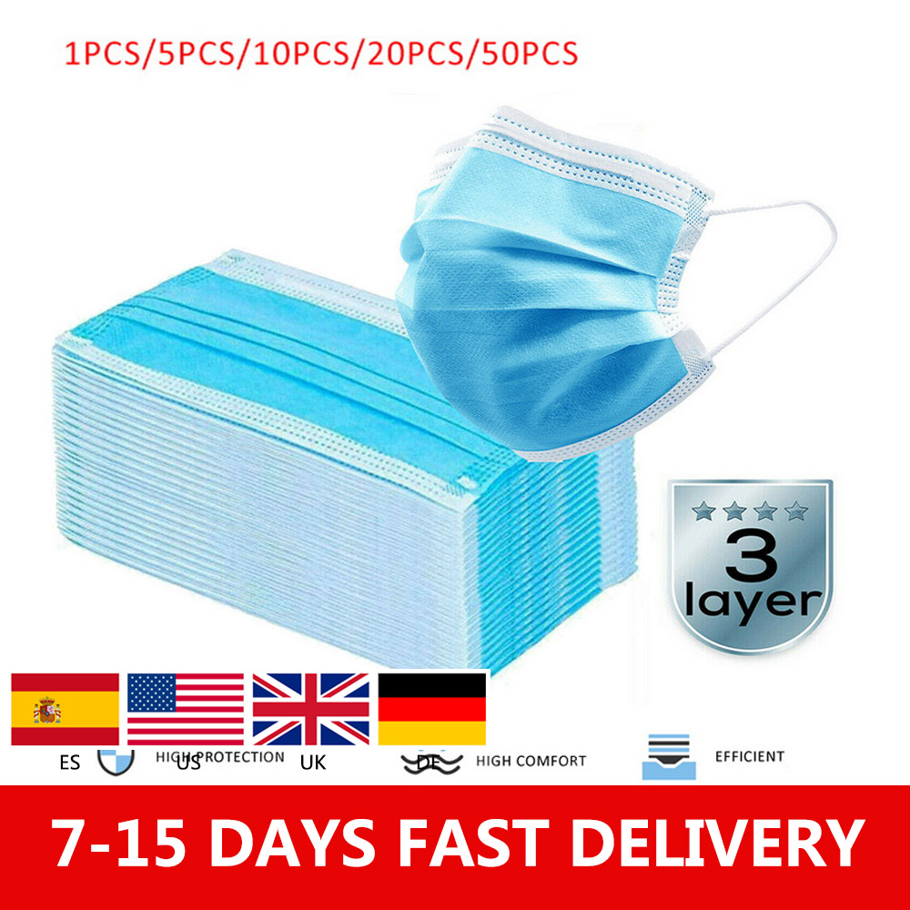 5/10/20/50pcs In Stock 3 Layers Disposable Daily Protective Mask, Three-layer Mask Non-woven