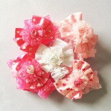 1 Pcs/lot Cute Lace Chiffon Flower Hair Bands Kids Ribbon Rose Accessories Girls Headwear Lovely Elastic