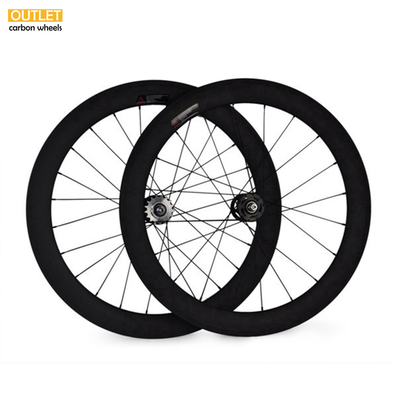 Free shipping 700c Carbon track <font><b>wheels</b></font> fixed gear carbon wheelset 60mm clincher single speed <font><b>bike</b></font> <font><b>wheels</b></font> <font><b>fixie</b></font> carbon wheelset image