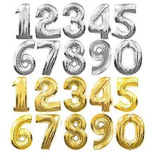 32inch Number Foil Balloon Rose Gold Silver Blue Discolor Digital Globose Birthday Party Decoration Baby Shower Supplies Globo