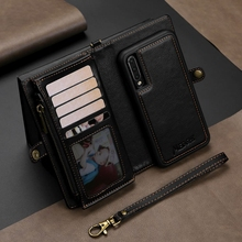 LAPOPNUT 2 In 1 Genuine Leather Wallet Case for Samsung Galaxy S10 5G S9 Plus A70 A50 A40 Detachable Multifunction Flip Cover