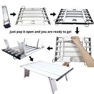 Image 2 - رائجة البيع المحمولة طوي طاولة قابلة للطي مكتب التخييم في الهواء الطلق نزهة 6061 سبائك الألومنيوم خفيفة للغاية للطي مكتب