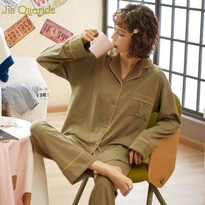 Image 3 - Minimalistischen Stil Pyjamas Frauen 2020new Frühling Herbst Baumwolle frauen Zwei Stück Plus Größe Lose Koreanischen Stil Zu Hause Kleidung Baumwolle pjs