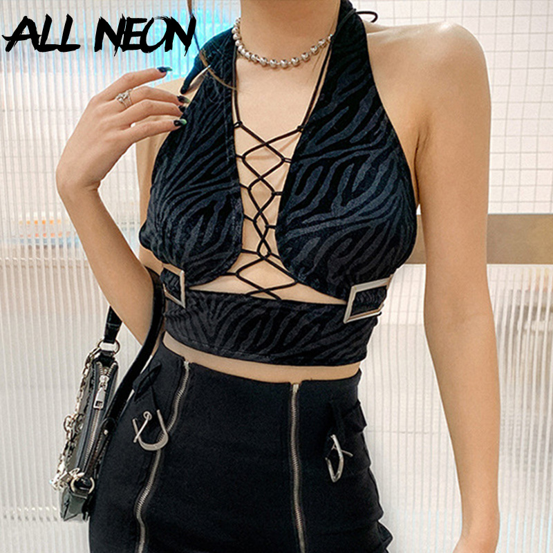 ALLNeon Mall Goth Verband Zebra-Print Ärmellose Tank Tops Y2K Ästhetik Halter Backless Schwarz Crop Tops Vintage Party Outfits