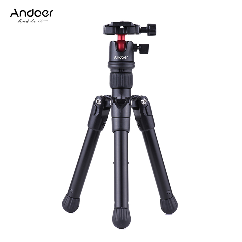 Andoer Mini Tripod Stand Tabletop Travel W/ Ball Head Quick Release Plate Portable Lightweight For Canon Nikon Sony DSLR Camera