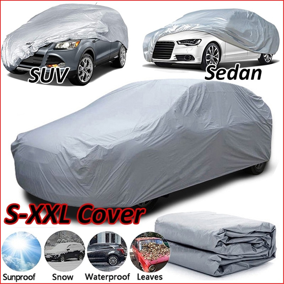 Car Covers Universal Full Size S/M/L/XL/XXL Indoor Outdoor Full Auot Cover Sun UV Snow Dust Resistant Protection Cover