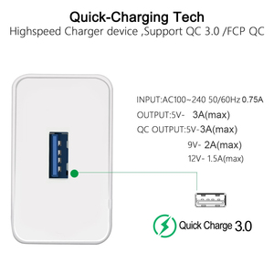 Image 3 - QC 3.0 USB Charger Quick charge 3.0 for iphone Samsung Xiaomi Huawei EU Adapter Charging Mobile Phone Charger Micro USB C Cable