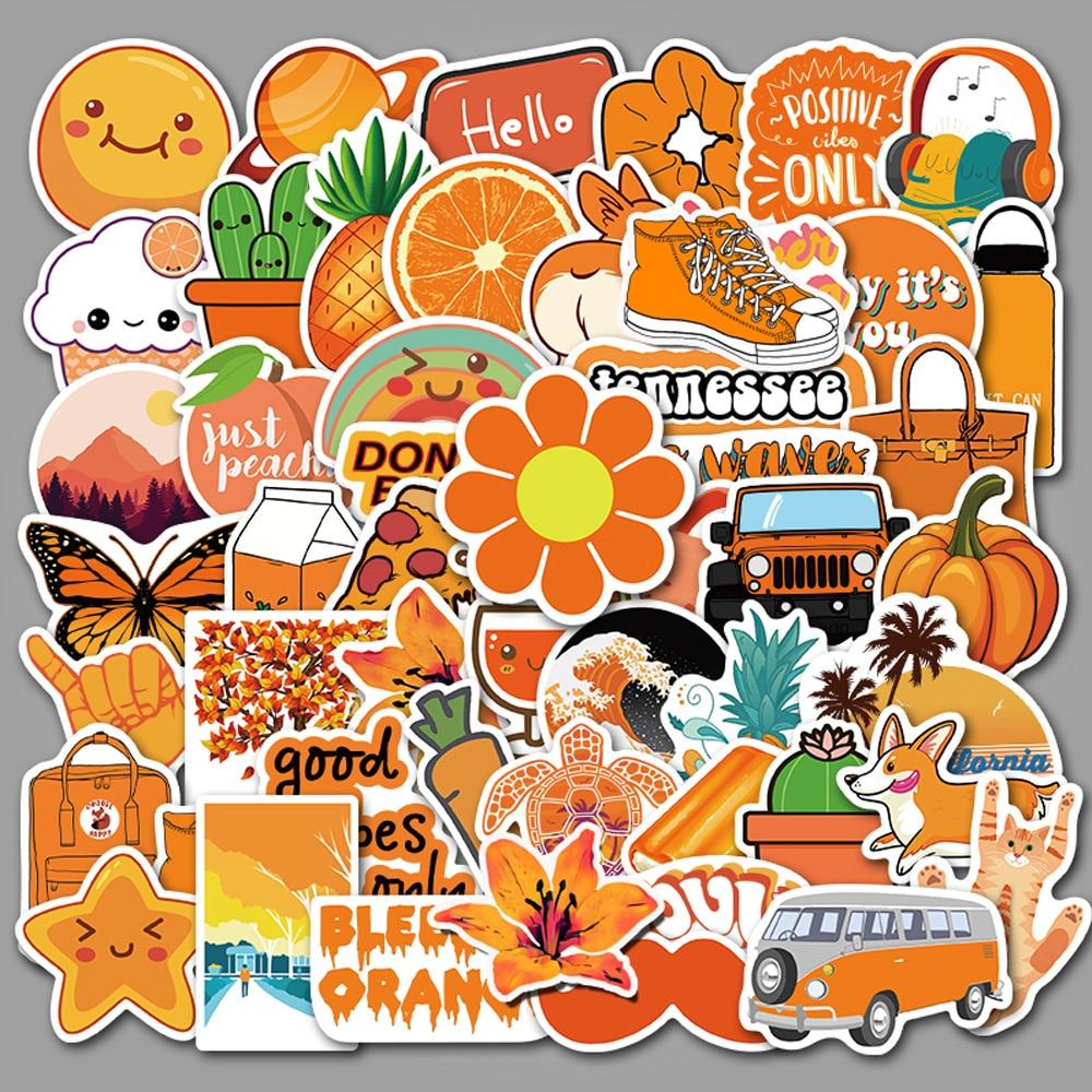 50PCS Pack Orange Vsco Girls Stickers For Kids Toy DIY Laptop Luggage Fridge Snowboard Waterproof Moto Bicycle Helmet Car Decals