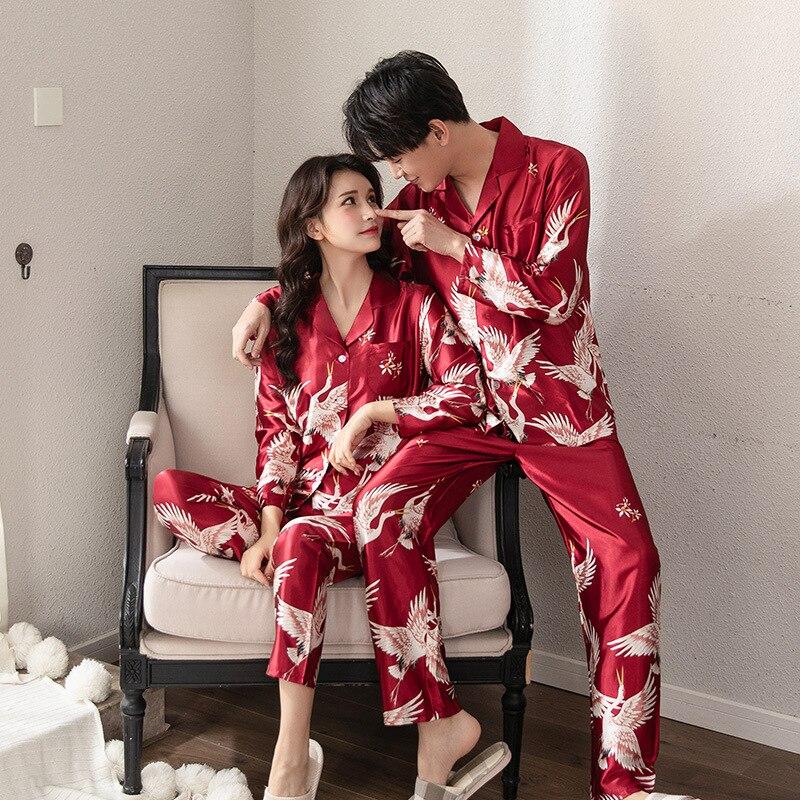 Crane Pajama Suit Satin Pajamas Sets Couple Sleepwear Family Pijama Lover Night Suit Men & Women Pyjamas Robe & Gown