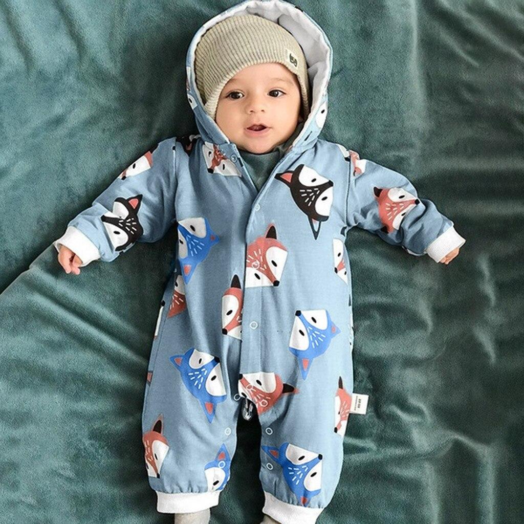 Hot New Kids Baby Boys Cartoon Dinasour Print Full Print Winter Long Sleeves Cute Autumn Romper Jumpsuit One Pieces Set