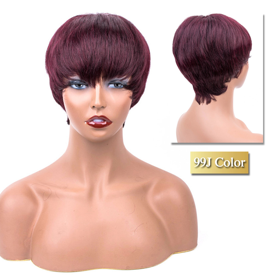 99J Red Wine Colored Short Human Hair Wigs Straight Human Hair Wig Peruvian Short Wig For Women Dorisy Non Remy Hair