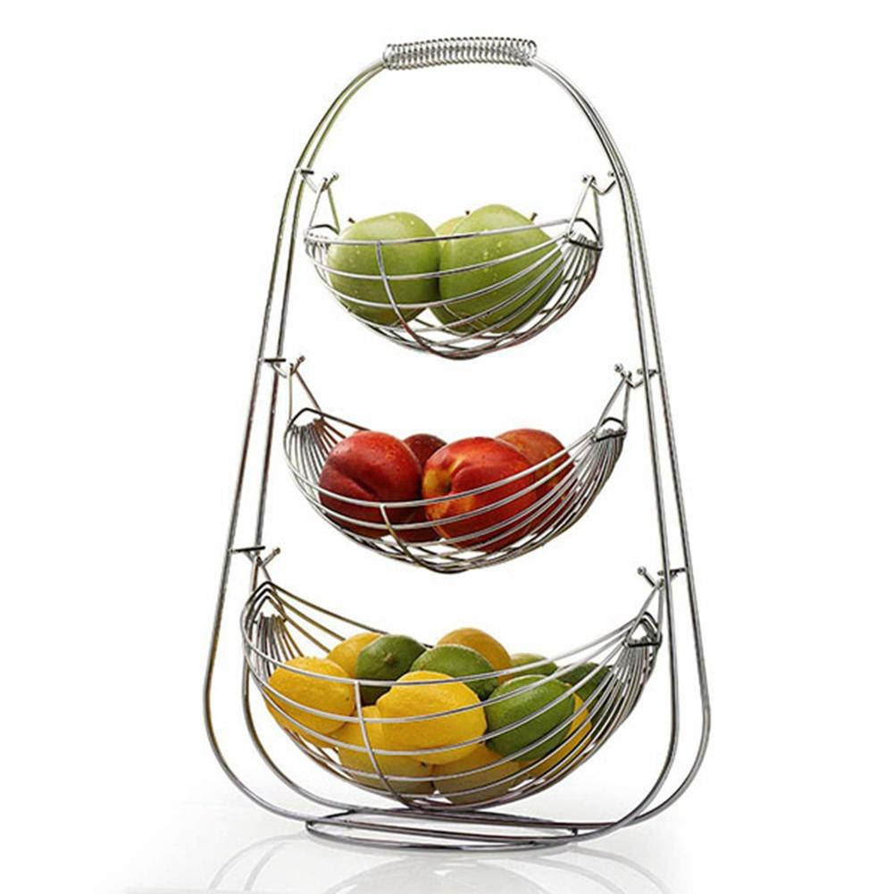 3 Tier Fruit Basket Bowl Holder Stand Kitchen Vegetables Storage Stainless Steel Organizer Decoration Household Food Storage