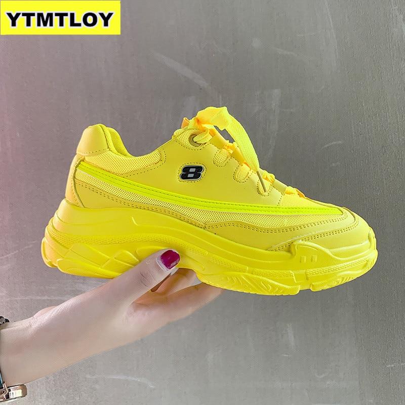 HOT New Fashion Women Casual Shoes Platform Sneakers Ladies Yellow Trainers Femme Green Summer WedgeTenis Feminino