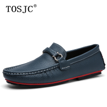 цена на TOSJC Fashion Men Casual Loafers Genuine Leather Moccasins High Quality Male Slip-on Flats Boat Shoes Soft Breathe Driving Shoes