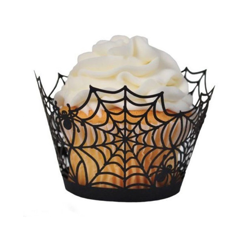Halloween Theme Bloody Cake Placard Decoration Ghost Pumpkin <font><b>Bat</b></font> Spider Scissors <font><b>Knife</b></font> Cupcake Wrapper Cake Supplies image