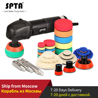 SPTA 3 Polishing Machine Mini Car Orbital Polisher Home DIY Auto Micro Rotary Polisher with 29pcs Car Polishing Pad Set