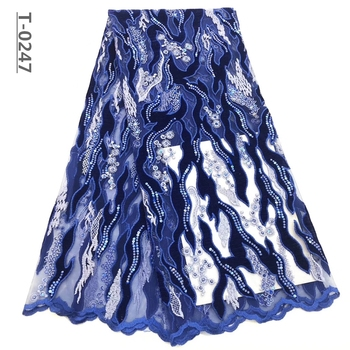 Royal Blue African Frebcg Lace Fabric Embroidery Mesh Tulle Lace Fashion Sequins French Net Lace Fabric For Prom Dress