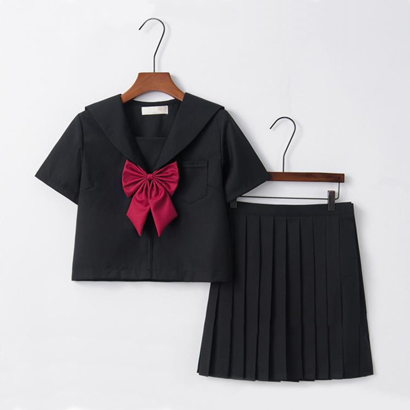 Black Sailor Suit Set Red Big Bow Japanese Female Student Uniform Japanese Anime CosplayPlay Costume Stage Performance Role Play