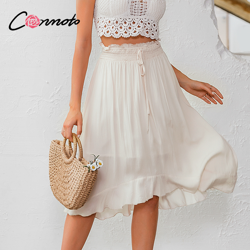Conmoto Solid Elegant Beach Summer 2020 Midi Skirts Women Elastic High Waist Casual Ruffles Skirt Femme Holiday Skirt
