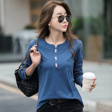 LJSXLS Turn-down Collar 2021 Spring Autumn Tops Button T Shirt Women Cotton Korean Clothes Plus Size Long Sleeve T-Shirt Femme