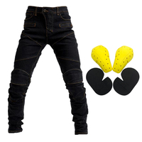 Men's Motorcycle Motorbike Riding Jeans Armor Racing Pants with 4 Knee Hip Protector Pads (S, M, L XL, XXL, XXXL Black)