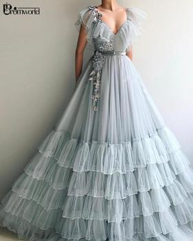 Silver Gray Prom Dresses 2020 Flowers Lace A-Line Cap Sleeves Gown Ruffles Tiered Tulle Evening Dress Party Long