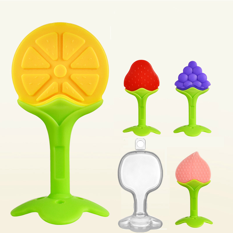 Baby Teether Safety Silicone Fruit Teethers For Baby Infant Kids Chew Tooth Toys Stereo Tooth Glue Molar Stick With Box