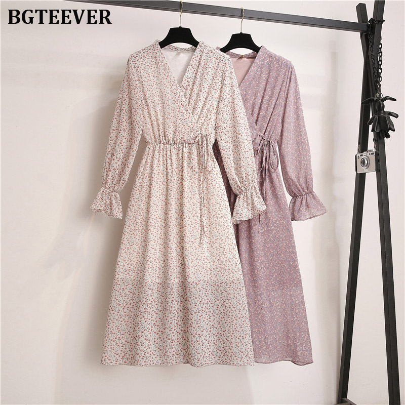 BGTEEVER Autumn Floral Women Dresses Multicolor Elegant Long Sleeve High Waist A Line Chic Dress Female V- Neck Midi Vestidos