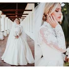 New Arrival A Line Wedding Dresses 2020 vestido de noiva High Neck Sheer Lace Wedding Gowns Handmade Long Sleeve Bridal Dress(China)