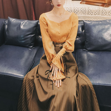 Модный женский осенне-зимний женственный Тонкий ретро комплект из двух предметов Блузка+ юбка