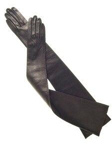 Image 5 - Gants en cuir de mouton véritable pour dames, très longues, sur lépaule, noir