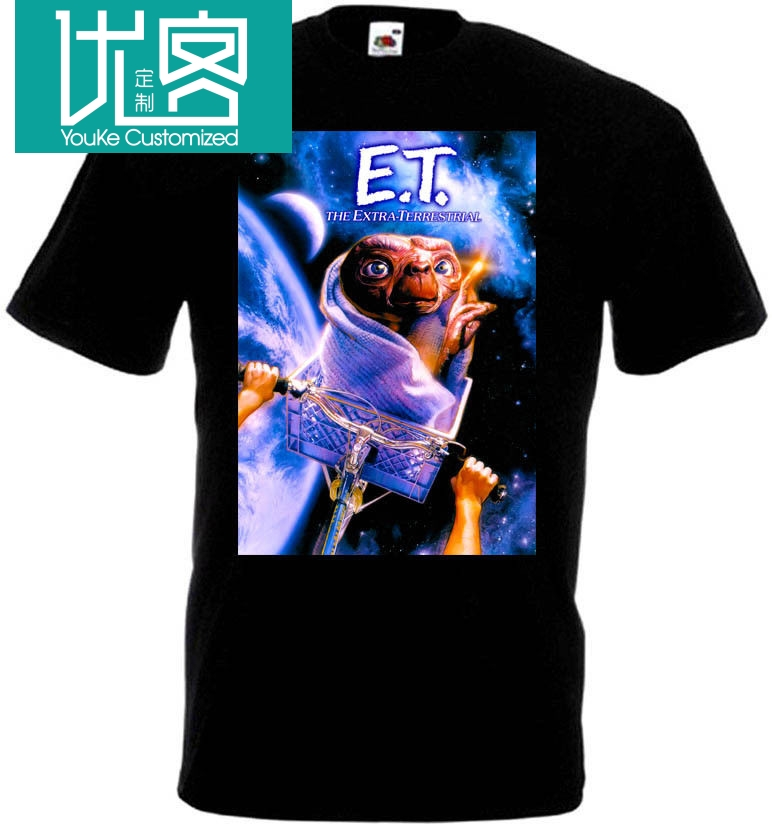 E.T. Extra Terrestrial V4 T Shirt Black Navy Blue Movie Poster All Sizes S-3XL Summer Short Sleeves New Fashion T-Shirt image