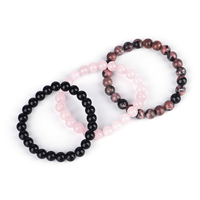 Bracelet Triple Protection Et Rhodonite